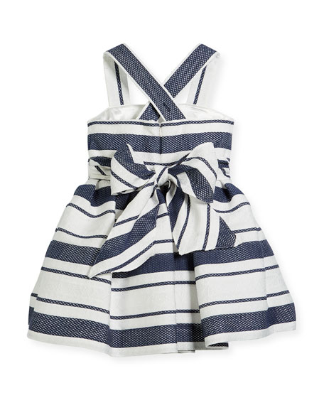 Sophisticated Stripe Cross-Back Dress, Size 7-14