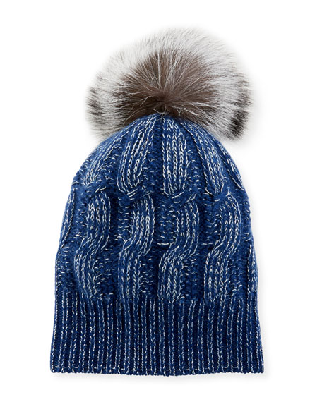 Sofia Cashmere Girls' Seed-Stitch Beanie Hat w/ Fur