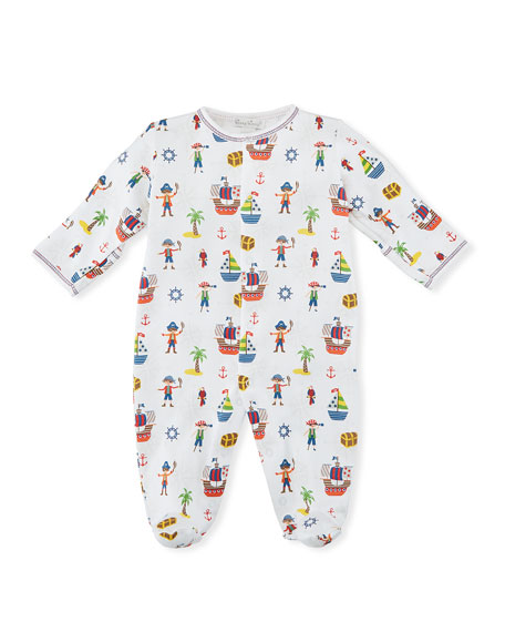 Buccaneers Printed Footie Playsuit, Size Newborm-9M
