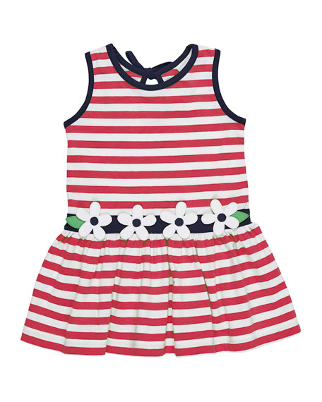 Stripe Knit Sleeveless Dress w/ Flower Detail, Size 2-6X