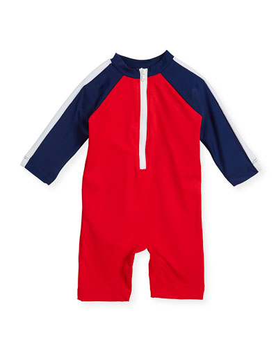 Colorblock Zip-Front Swim Bodysuit, Size 3-24 Months