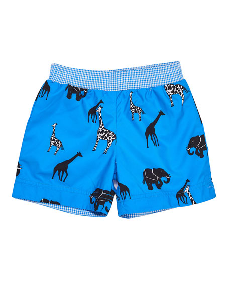 Florence Eiseman Safari-Print Swim Trunks, Size 6-24 Months
