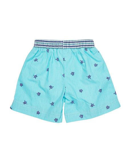 Turtle-Print Swim Trunks, Size 2-4