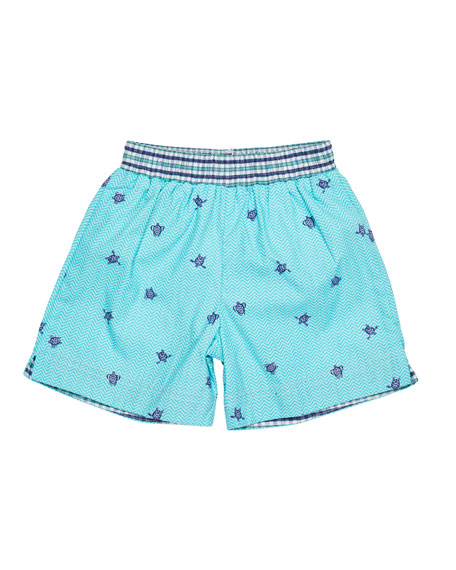 Florence Eiseman Turtle-Print Swim Trunks, Size 2-4