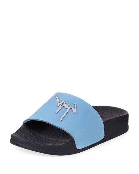 Birel Leather Slide Sandal, Black, Youth