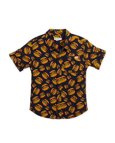 Short-Sleeve Button-Down Burger Shirt, Size 2-10
