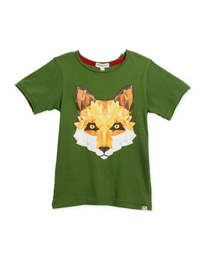 Geometric Fox Graphic T-Shirt, Size 2-10