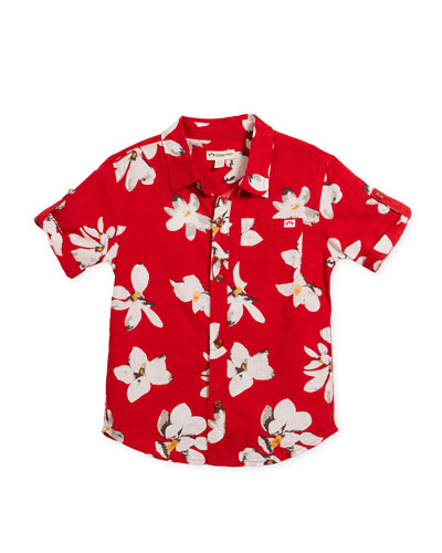 Short-Sleeve Button-Down Lilies Shirt, Size 2-10