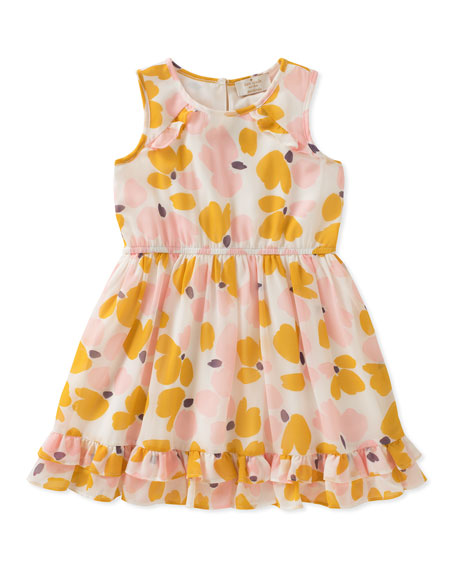 kate spade new york Ruffle-Hem Floral Sleeveless Dress,