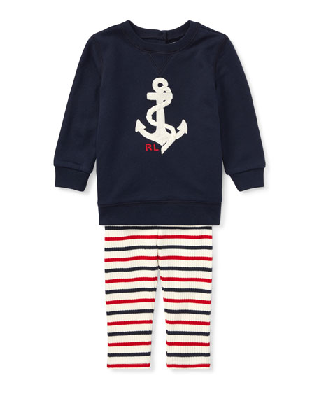 Ralph Lauren Childrenswear Atlantic Terry Anchor Sweatshirt w/