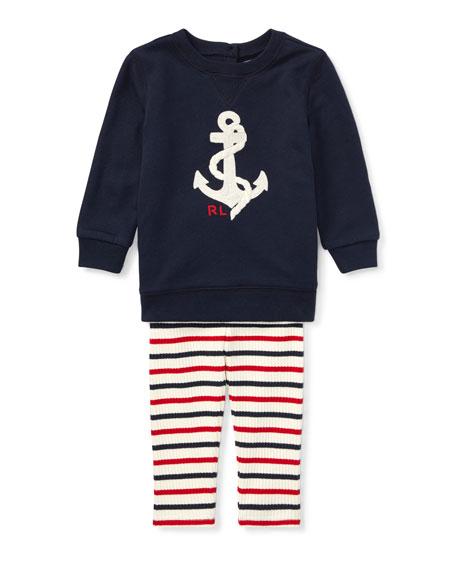 Ralph Lauren Childrenswear Atlantic Terry Anchor Sweatshirt w/