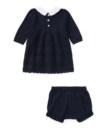 Scallop-Hem Knit Dress w/ Bloomers, Size 3-24 Months