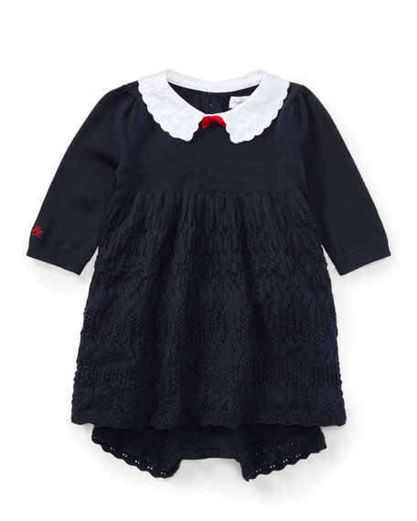 Ralph Lauren Childrenswear Scallop-Hem Knit Dress w/ Bloomers,
