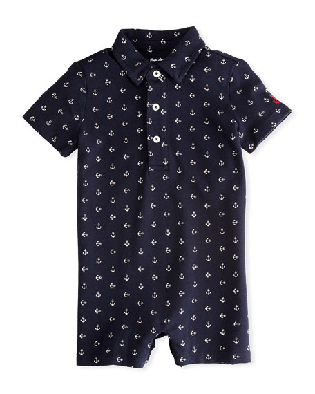 Ralph Lauren Childrenswear Mesh Anchor-Print Polo Shortall, Size