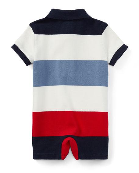 Mesh Striped Polo Shortall, Size 3-18 Months