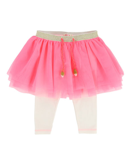 Billieblush Leggings w/ Attached Tulle Skirt, Size 6-18
