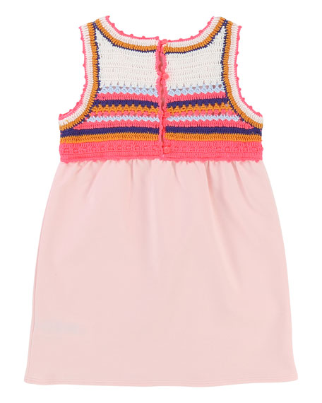 Jersey Dress w/ Crochet Yoke, Size 4-8