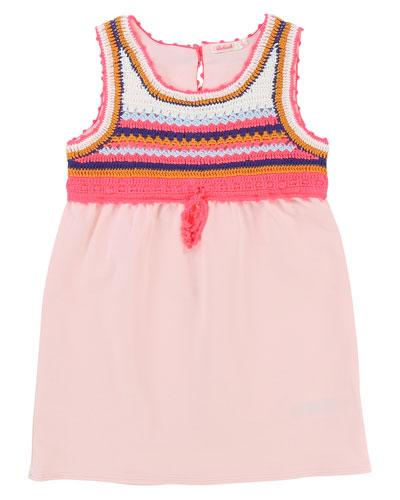Jersey Dress w/ Crochet Yoke, Size 4-8