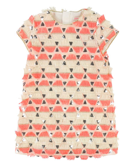Short-Sleeve Sequin & Fringe Dress, Size 4-8
