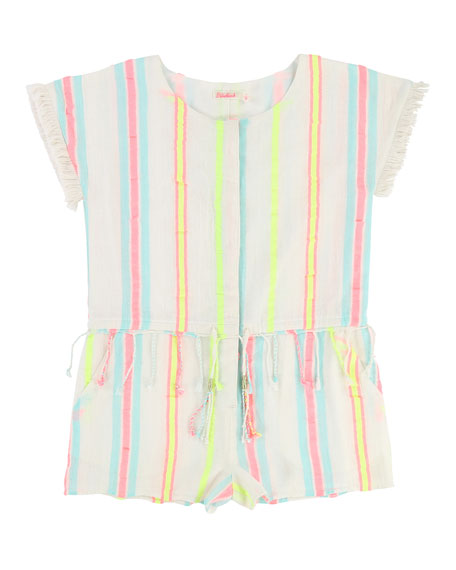 Billieblush Short-Sleeve Woven Striped Romper, Size 4-8