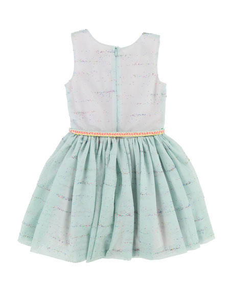 Sleeveless Tulle Glitter Dress w/ Braided Belt, Size 4-8