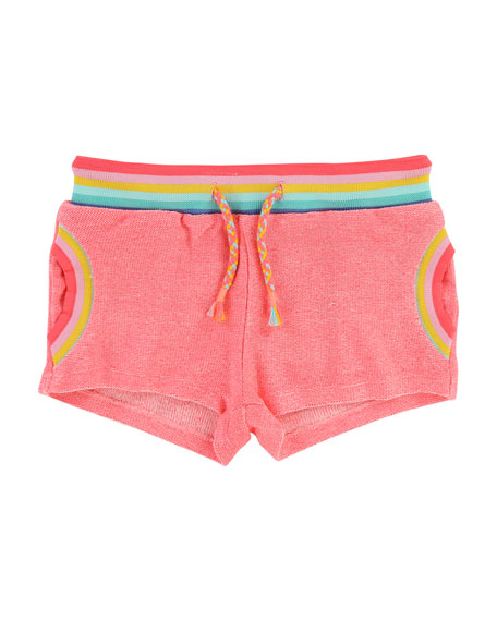 Billieblush Knit Shorts w/ Rainbow Ribbed Trim, Size