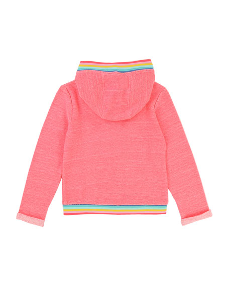Zip-Up Hoodie w/ Rainbow Ribbed Trim, Size 2-8