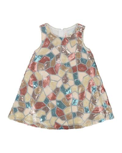 Sleeveless Mosaic Pattern Sequin Dress, Size 3-8