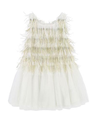 Sleeveless Tulle & Fringe Dress, Size 3-8