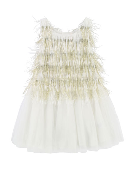 Billieblush Sleeveless Tulle & Fringe Dress, Size 3-8