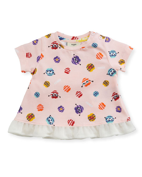 Girls' Short-Sleeve Pompom Monster Graphic T-Shirt, Size 3-9 Months