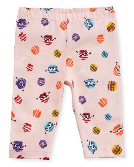 Fendi Girls' Monster Pompom Graphic Leggings, Size 12-24