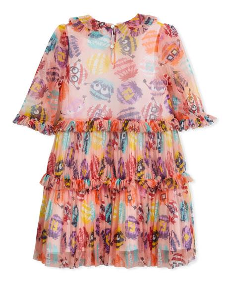 Collared Dress w/ Monster Pompom Print, Size 6-8