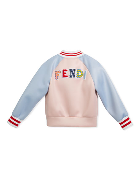 Colorblock Varsity Jacket w/ Logo Back, Size 3-5