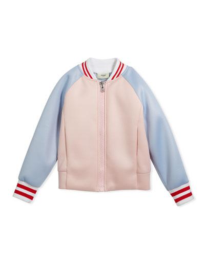 Colorblock Varsity Jacket w/ Logo Back, Size 3-5