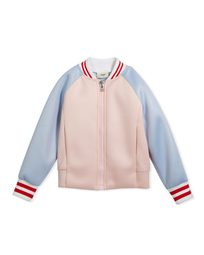 Colorblock Varsity Jacket w/ Logo Back, Size 6-8