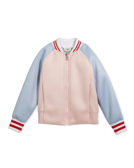 Fendi Colorblock Varsity Jacket w/ Logo Back, Size
