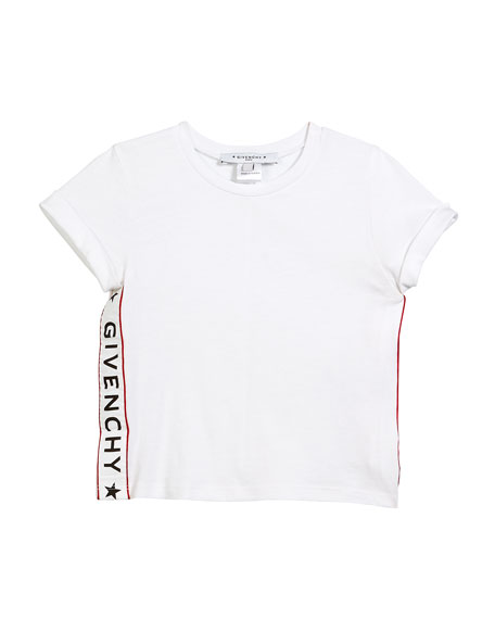 Givenchy Cotton-Blend T-Shirt w/ Logo Sides, Size 6-10