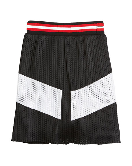 Givenchy Two-Tone Pleated Mesh Skirt, Size 6-10