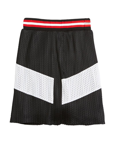 Two-Tone Pleated Mesh Skirt, Size 4-5