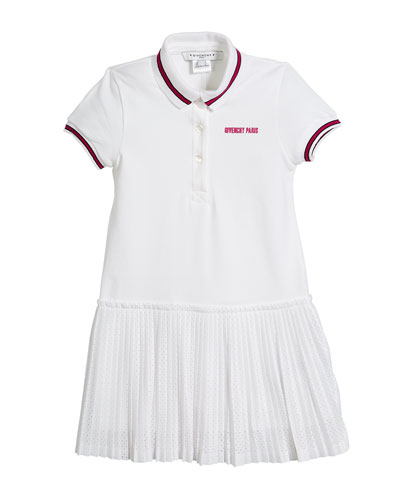 Pique Polo Dress w/ Pleated Mesh Skirt, Size 12