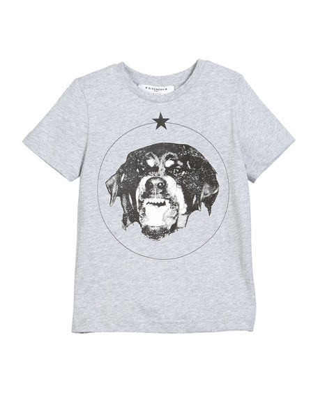 Givenchy Short-Sleeve Cotton Dog Graphic T-Shirt, Size 6-10