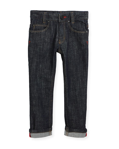 Givenchy Denim Trousers w/ Leather Trim, Size 4-5