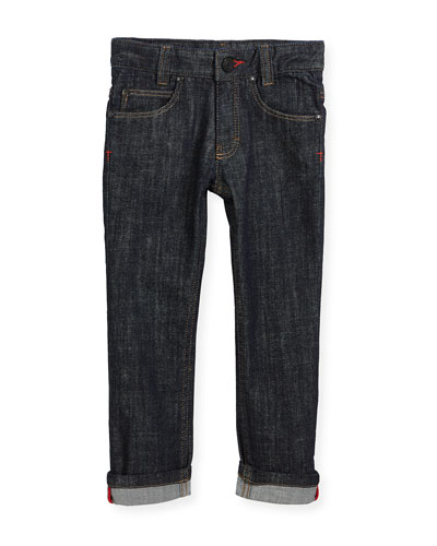 Denim Trousers w/ Leather Trim, Size 6-10