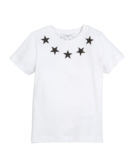 Givenchy Short-Sleeve Stars-Collar Cotton T-Shirt, Size 4-5 and