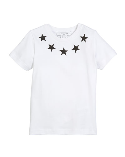 Short-Sleeve Stars-Collar Cotton T-Shirt, Size 12