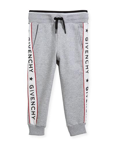 Cotton-Blend Jersey Sweatpants w/ Logo Sides, Size 12
