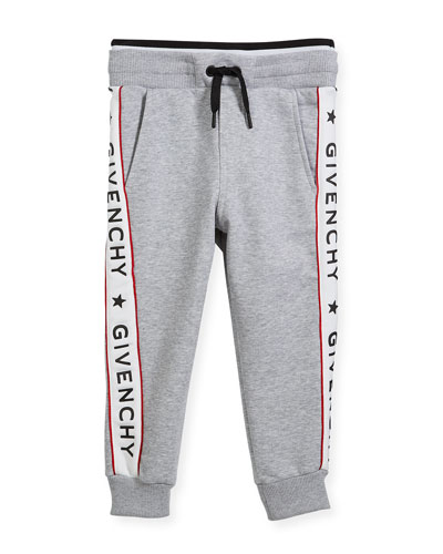 Cotton-Blend Jersey Sweatpants w/ Logo Sides, Size 4-5