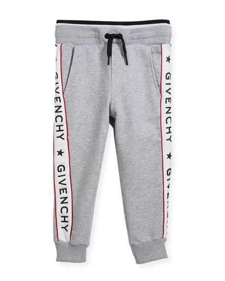 Cotton-Blend Jersey Sweatpants w/ Logo Sides, Size 4-5