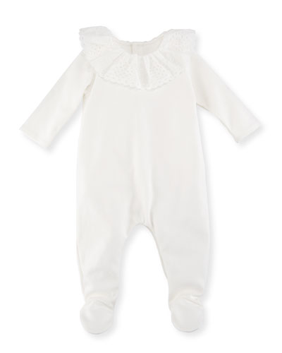 Footie Pajamas w/ French Embroidered Collar, Size 3-9 Months